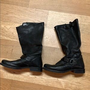Frye genuine black leather wide width boots